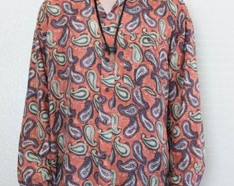 paisley silk shirt - L
