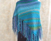 Hand Knit Shawl - Warm Knitted Shoulder Wrap - Handmade Blue Shoulder Cover - Ladies Accessory