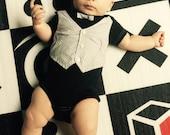 Baby Boy OnePiece, Boy black onesie, Grey diamond pattern Vest and Bowtie, Toddler onesie, baby boy clothing, sophisticated baby