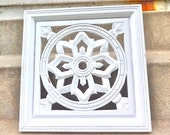 White Wood Wall Plaque Ornate Shabby Chic Wall Art Hanging