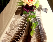 Turkey Feather and floral teepee trim Wine and peach