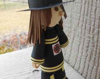 Quilled FIREFIGHTER GIRL. Paper Decoration. Firefighter Gift. Cake Topper. Unique Gift. CUSTOM Orders Welcome.