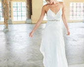 Lace Wedding Dress, Chiffon boho v-neck Cross straps, cut out waistband,  Low Back Cotton Lace  BOHO eco wedding dress