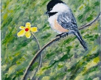 Yellow Flower Chickadee Print - brushstroke enhanced 5 X 7 inch painting