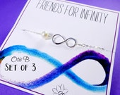 Set of THREE Infinity necklaces, Be my bridesmaid Bridal jewelry, Bridesmaid gifts, I couldnt say I do Without You card, pearl necklaces