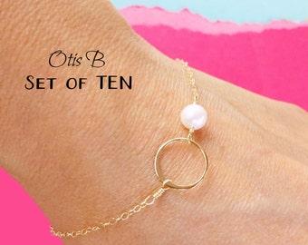 Bridesmaid gift set of TEN karma bracelets, silver pearl bracelets, karma jewelry, bracelets for bridesmaids