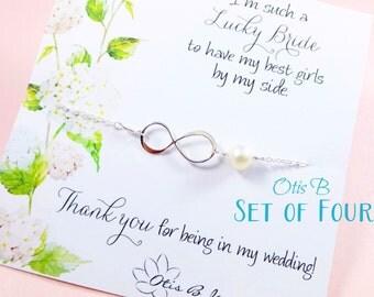 Bridesmaid jewelry set of 4:INFINITY NECKLACES & Bridesmaid message cards, Friendship necklaces, Bridesmaid thank you, Otis B Jewelry