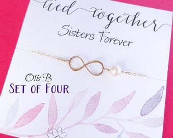 Gold infinity bracelets, 4 Bridesmaid gift sets, friendship bracelets, Sorority Sisters, Bridesmaid jewelry, Friendship bracelets, Otis B