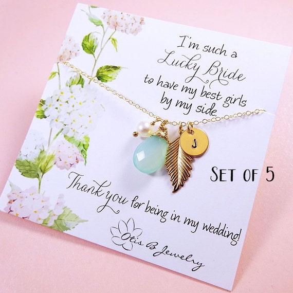 Bridesmaid gift Set of 5: Bridesmaid CARDS & personalized NECKLACES, Bridesmaid gifts, bridesmaid thank you cards, necklaces for bridesmaids