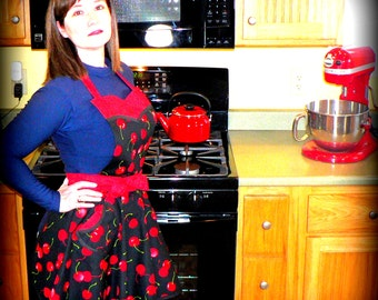 "RETRO 50s Circle Skirt Apron ""Sweet Cherry"" sweetheart neckline, flirty pin up apron, hostess apron - ready-to-ship, out of print fabric"