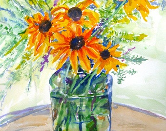 "Yellow Daisy Original Watercolor Painting  Black Eyed Susans In a Glass Jar Stil Life original art  10"" x 14 "" Carlie DeGaetano"