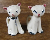 Vintage Pair of Kitty Cats Salt and Pepper Shakers with Curved Tail Holder or Handle Ceramic Hand Painted