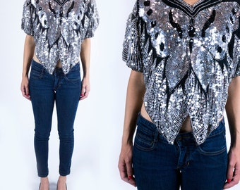 Vintage 1980s Black and Silver Silk Metallic Sparkle Sequined Butterfly Going Out Crop Top Blouse Size S