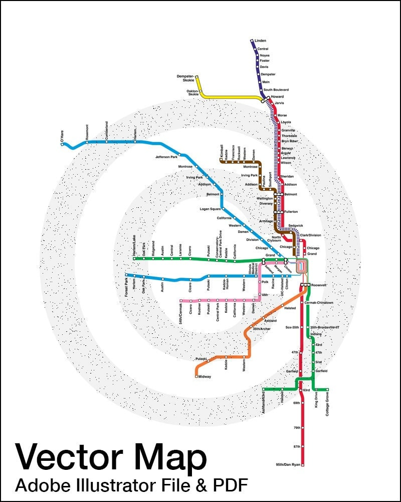 Cta Map Etsy - Chicago map etsy