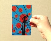 "Postcard, ""Sunspots"", telephone pole postcard, electric wires, 4x6 inches, high gloss, UV protection, professionally printed"