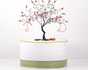 Halloween Wedding Cake Topper Custom Wire Tree Sculpture Black Halloween Tree