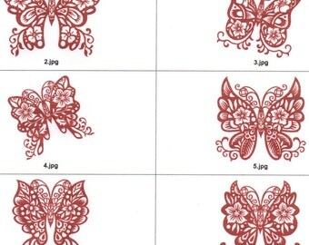 Red lacy floral butterfly machine embroidery designs for 8x8 hoop. All formats but art,sew,shv.10 filled and 10 lineart designs