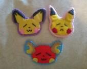 Pichu Pikachu and Raichu Pokemon felted badges / brooches