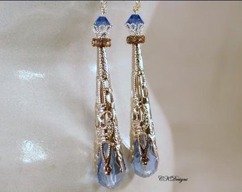 Victorian Style Drop Earrings,  SteamPunk Earrings, Beaded Dangle Pierced Or Non Pierced Earrings. OOAK Handmade Earrings. CKDesigns.us