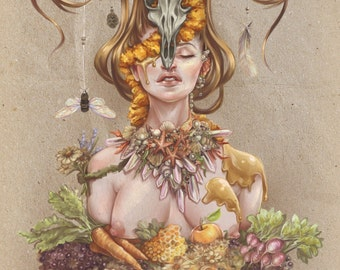 Horns and Honey- Rustic Nature Farm Goddess with Skull Antlers Crystals- Original Illustration Print by Miss Tak- Three Sizes Available