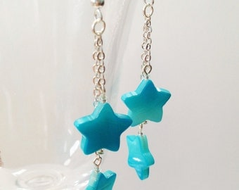 Star Shell and Chain Earrings - Sky Blue