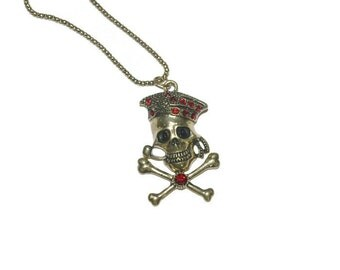 Jolly Roger Necklace Unique Gifts Inexpensive Gifts Gold tone Red Rhinestone Accent necklace Gifts for Her