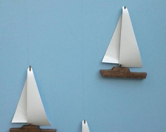 Sailboat Mobile-Y9,Brown,Wooden Hull,Vinyl Sail,Baby Mobile,Mobile,Boat,Wooden Sailboat Mobile,Nautical,Nursery Mobile,Kids Room Mobile,Boat