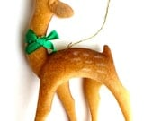Vintage Miniature Spotted Deer-Ornament w Green Bow, Fuzzy Texture & Black Beaded Eyes-Flocked Deer-Christmas Terrariums-Retro Holiday Decor
