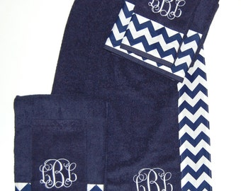Monogrammed Chevron Towel Wrap and Towel Set