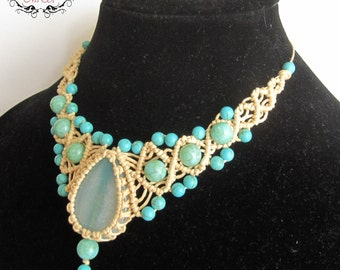 Beige and Turquoise Macrame Necklace - Micromacrame Necklace Micro-macrame