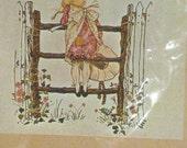 Vintage Embroidery Kit - Holly Hobbie -  Garden Gate - 1970's - Retro Needlepoint Tapestry Kit