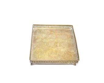 Vintage Brass Tray Pineapple Tray Square Tray Footed Pineapple Tray Serving Tray Brass Trays Vanity Tray