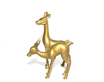 Vintage Brass Deer Figurines Deer Statues Rustic Deer Brass Reindeer Brass Deer Christmas Decor