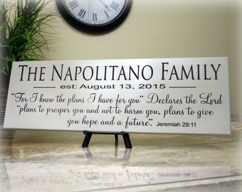 Personalized Family Name Sign Inspirational Scripture Verse For I know the Plans I  have.. Jer. 29:11 Carved Wood Sign Christian Religious