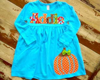 Fall Pumpkin dress, Personalized Dress with Pumpkin Appliqué, 2 Colors - Long or Sleeveless , 3-6m to 8yrs
