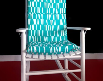 ON SALE Rocking Chair Cushion Cover - Sticks Pacifico Blue, White, Ready to Ship