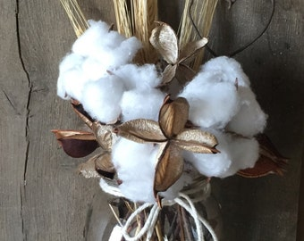 second anniversary gift Cotton bolls ball cotton burr arrangement with barb wire rustic design natural organic stems