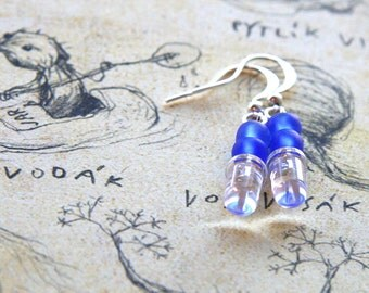 Tiny Clear LED Wearable Tech, Computer Earring, Blue Frosted Geeky Earrings, Eco Friendly Earrings, Upcycled Electronics, Sterling Silver