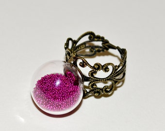 Glass Cocktail Ring, Adjustable Ring, Statement Ring, Glass Globe Ring, Glass Ball Ring, Hot Pink Ring, Fashion Jewelry, Glass Ball Jewelry