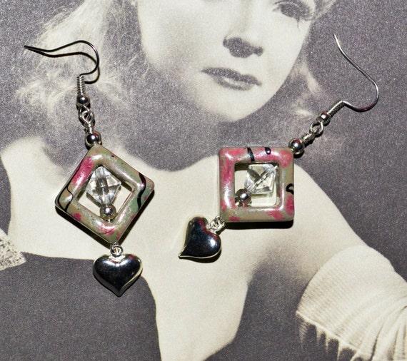 Geometric Earrings, Drop Earrings, Heart Jewelry, Dangle Earrings, Pretty Drop Earrings, Lightweight Earrings, Heart Earrings, Grey and Pink