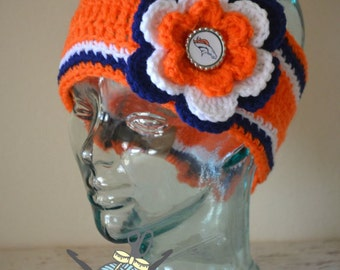 MADE TO ORDER - 3 sizes Available - Toddler through Adult Denver Broncos Inspired Flower Earwarmer Headband with Logo Center - Football