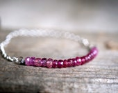 Pink Sapphire, Sterling Silver and Silk Cord Bracelet