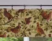 Kitchen Valance . Kitchen Cafe Curtain . Vintage Bird Woodland Fabric . Handmade by Pretty Little Valances