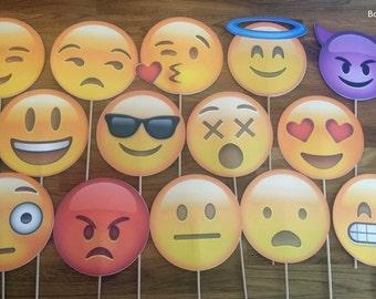 Photo Props: The Large Emoji Set (14 Pieces) - party wedding birthday decoration instagram social media iPhone app icon stick centerpiece