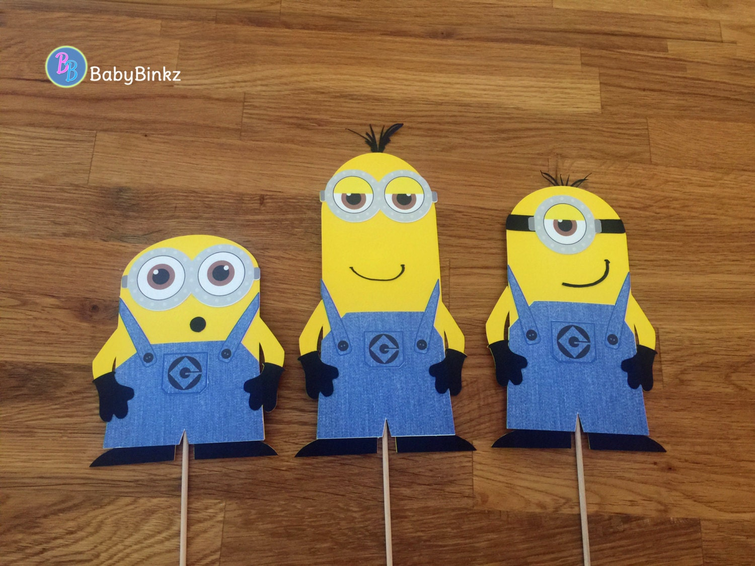 photo props minion trio stuart kevin bob inspired despicable me birthday party decoration halloween centerpiece