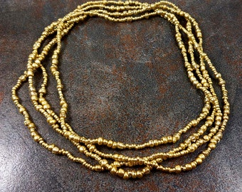 Seed Bead Necklace, Long Necklace, Gold, Infinity Necklace, Gold Bead Necklace, Single Strand Necklace, Glass Bead Necklace, 64""
