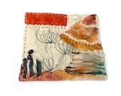 Textile landscape in neutrals, Mini Textile Art, shibori mini art landscape, Shibori Wall art, Mini landscape wall art