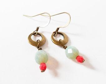 boho drop earrings, everyday drop earrings, beaded earrings, dangle earrings, boho jewelry, brass drop earrings, gift for her