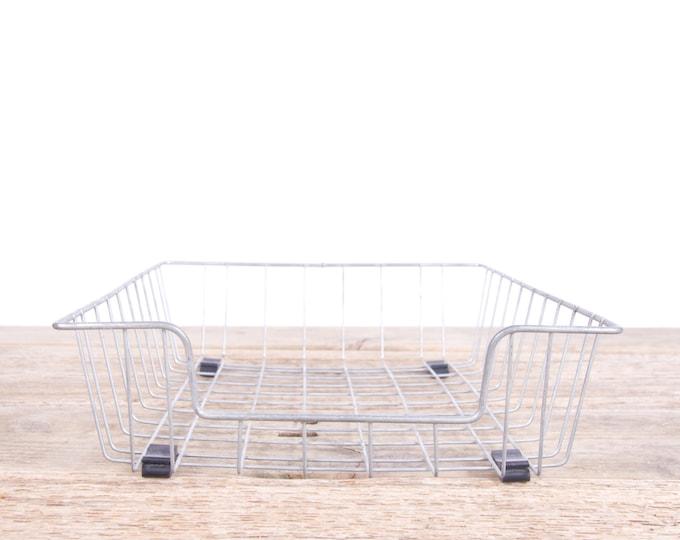 Retro Desk Basket / Vintage Metal Wire Basket / Antique Storage Basket / Office Organization / Office Decor / Industrial Desk Basket