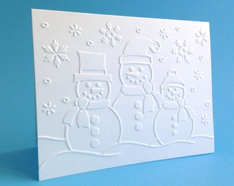 Boxed Christmas Cards - Embossed Snowman Card Set of 8 - Embossed Holiday Cards - Embossed Blank Christmas Cards - Winter Note Card Set